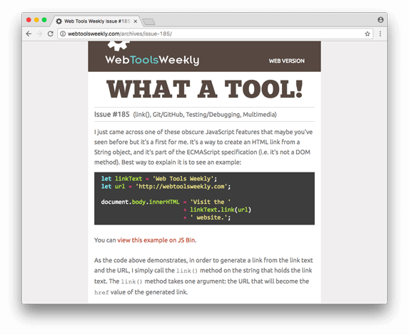 Web Tools Weekly in the browser