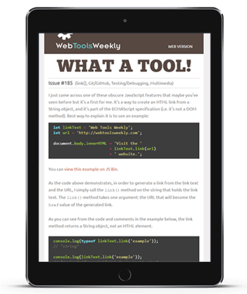 Web Tools Weekly on a tablet