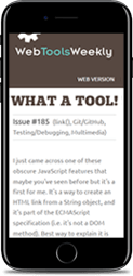 Web Tools Weekly on mobile phone